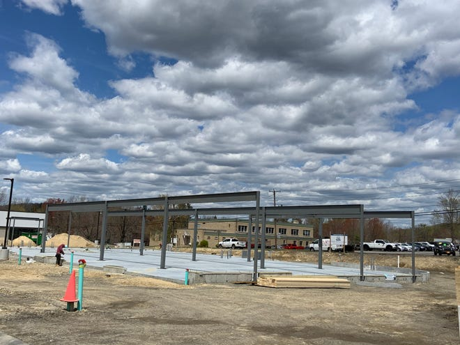 Starbucks, which is slated to open in the fall, is beginning to take shape on Timpany Boulevard in Gardner.