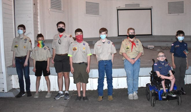 Orion Boy Scout Troop 123 held a Court of Honor on Monday, April 26, in Central Park. Boys and their new ranks include, from left to right, Cade Hancock, Star Scout; Riley Knox, Scout; Ian Niemeier, Star Scout; Micah Knox, Star Scout; Ben Seabloom, Second-Class Scout; Braden Slovack, Scout; Garrett Jacobs, Scout, and Logan Miller-Green, Scout.