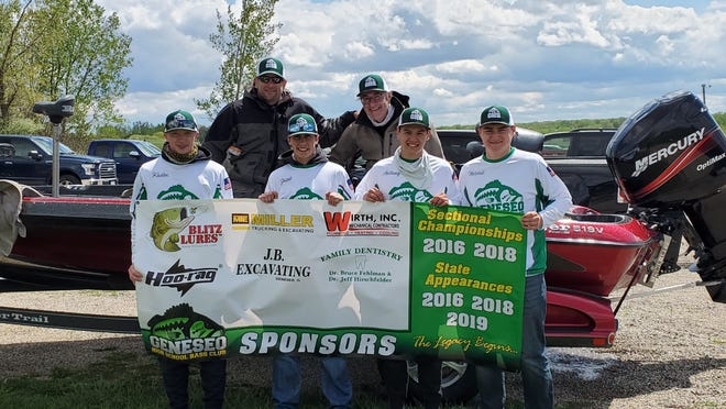 The Geneseo Bass Teams competed in the IHSA Sectional tournament at Lake McMaster Thursday May 6. Pictured are (l to r) – Kaden Davison, A.J. DeSplinter (captain boat #2), Kade VanOpdorp, Jeff Hirschfelder (captain boat #1), Anthony Pierce, Mitch Wirth Geneseo finished 9th (Mitch and Anthony boat #1) and 12th (Kaden and Kade boat #2) out of 21 boats competing.