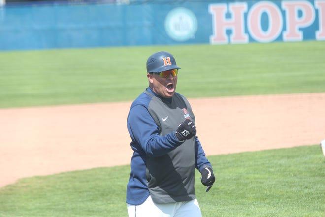 Hope baseball coach Stu Fritz celebrates his 600th win