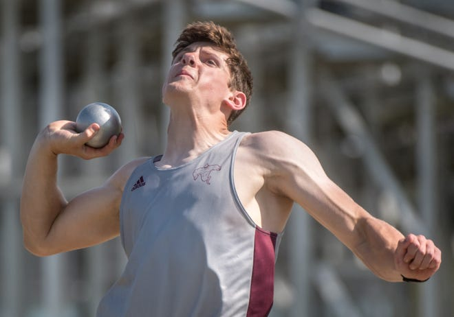 Illinois Valley Central sophomore David Russell throws the shotput during a track and field meet April 28, 2021 at Dunlap High School.