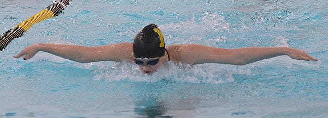 Newton swimmer Madison Horton competes in the 100-yard butterfly during the Newton Invitational II. Horton posted a new state qualifying time in the 100-yard breaststroke. Newton competes next weekend at the AV-CTL I championships in Haysville.