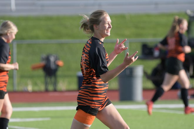 Kirksville senior Morgan Baker reacts after scoring a goal in the first half of Thursday's game against Canton.