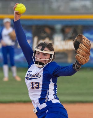 Auburndale softball pitcher Genna Stutz pitches against Tampa Jefferson during the first inning of their Class 5A, Region 3 quarterfinal playoff game at Auburndale High School.