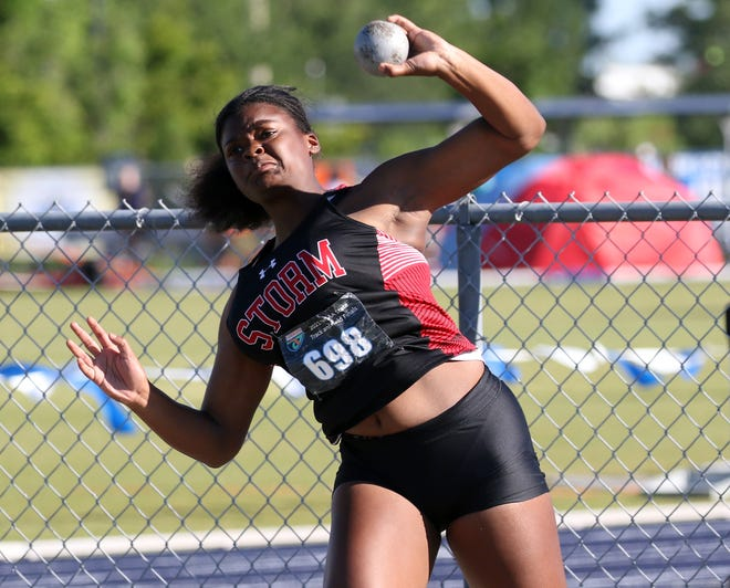 Victory Christian senior Damyah Joyner competes in the shot put on Friday at the Class 1A state track meet at the University of North Florida in Jacksonville. Joyner won the event with a throw of 40 feet 5 inches.