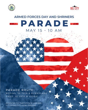 Del City's Armed Forces Day and Shriners Parade will be held May 15.