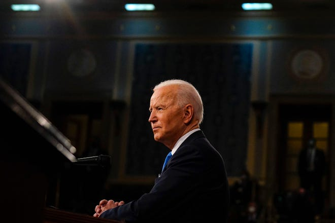 President Joe Biden addresses a joint session of Congress on April 28 at the U.S. Capitol in Washington, D.C. (Melina Mara/Pool/AFP via Getty Images/TNS)