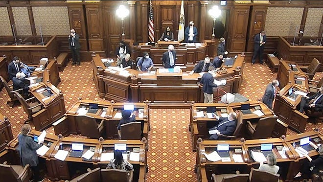 The Illinois Senate floor is pictured at the Capitol in Springfield.