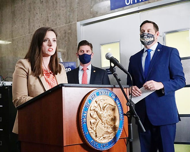 Leadership in the House Republican caucus — including Avery Bourne, of Morrisonville, Ryan Spain, of Peoria, and Tim Butler, of Springfield — excoriated House Democrats for what they called a secretive process for redrawing legislative and congressional maps