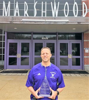 Marshwood High School athletic director Rich Buzzell received the 2021 Robert Leahy Athletic Director award as the top AD in the state of Maine.