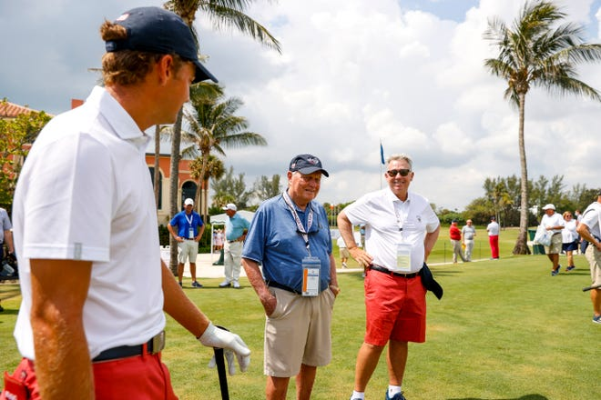 Tyler Strafaci, Jack Nicklaus and U.S. captain Nathaniel Crosby chat during a Walker Cup practice round Friday at Seminole Golf Club in Juno Beach.