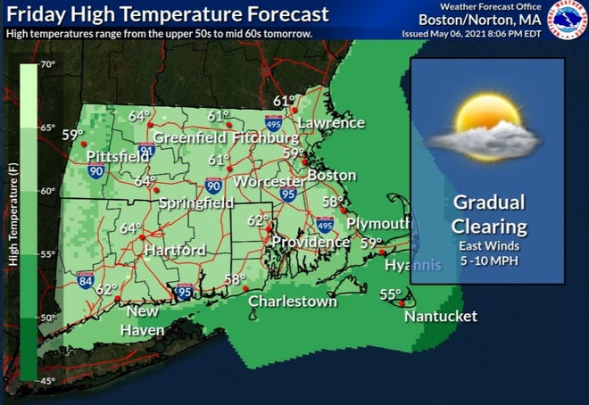 The temperature in Rhode Island should reach the upper 50s and 60s Friday.