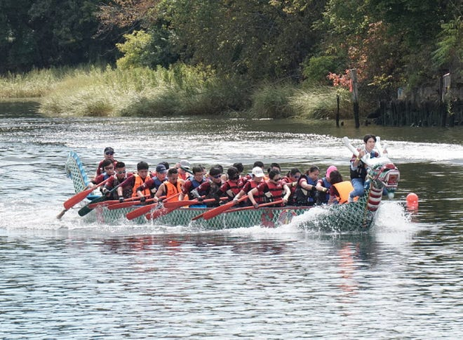 Paddlers compete in the dragon boat races at Festival Pier along the Pawtucket River in 2017. The races are being postponed again this year because of health concerns over the coronavirus pandemic, organizers announced Friday.