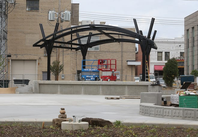 The amphitheater stage at Massillon's Duncan Plaza is nearing completion. The city's annual Summer Concert Series is slated to kick off with a performance by LaFlavour on June 17 at the downtown venue.