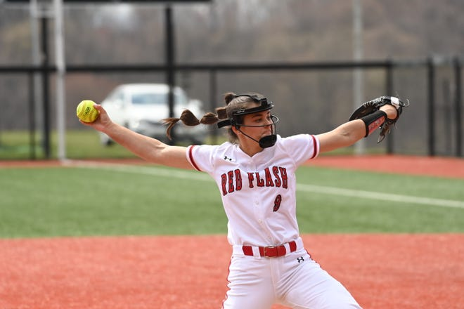 Grace Vesco throws a pitch for the St. Francis University (Pa) softball team.(courtesy JD Cavrich)