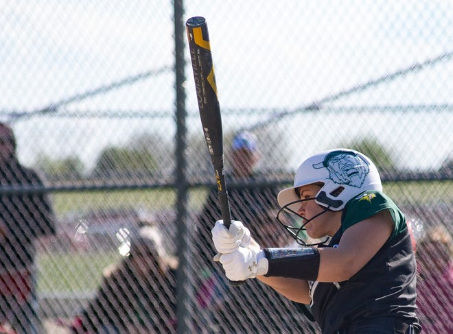 North Boone's Kamryn Spohr, shown batting during a 13-2 win over Big Northern co-champion Stillman Valley on May 6, is part of a deep lineup that hopes to propel the Vikings to only their second regional softball title in school history.