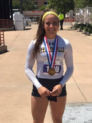 Stephenville's Jaylee Matthews won the bronze medal at the Class 4A Track and Field State Tournament in discus in Austin.