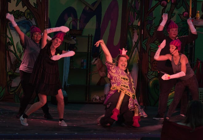 """The cast of """"Shrek the Musical,"""" presented outdoors by the Dingbat Theatre Project at the Bazaar on Apricot & Lime."""