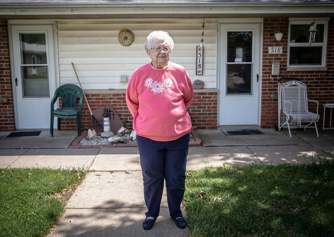 Wanda Irlam, 84, stands in front of the apartment she has in an affordable housing complex in South Jacksonville on Friday. With the Build Illinois Homes Tax Credit, state lawmakers are looking to create a state-level tax credit for investors that would generate more financing for developers for affordable housing for working-class residents and senior citizens.