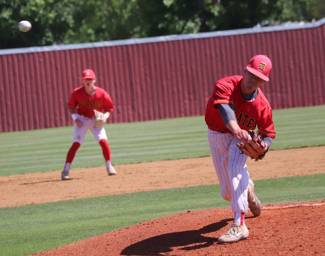 Dale pitcher Conner Kuykendall makes the delivery to home plate against Pawnee Thursday in a Class 2A regional.