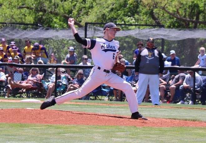 Asher's Mike McDonald fires a pitch against Tupelo Thursday at the Class B State Tournament.