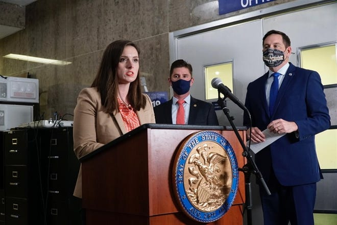 Leadership in the House Republican caucus — including Avery Bourne, of Morrisonville, Ryan Spain, of Peoria, and Tim Butler, of Springfield — excoriated House Democrats for what they called a secretive process for redrawing legislative and congressional maps.