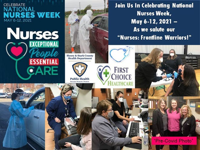 Photos of the Nursing Staff of the Henry and Stark County Health Departments and theFirst Choice Healthcare Clinics in Kewanee and Colona in honor of National Nurses Week (May 6-12th).
