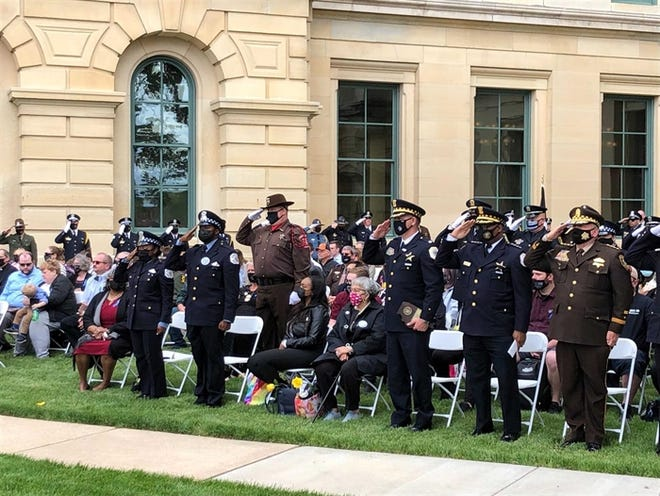 After being postponed last year due to the COVID-19 pandemic, law enforcement officers gathered in Springfield Thursday to honor police killed in the line of duty in 2019 and 2020.