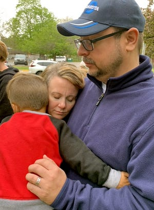 """Rob and Tiffany Wagler were among those who gathered Thursday for a """"National Day of Prayer"""" program outside the St. Joseph County courthouse in Centreville."""