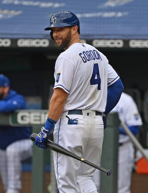 Now-retired Kansas City Royals star Alex Gordon received a special honor, with the team marking his locker with a display featuring the No. 4 and a silhouette of him from the 2015 World Series.