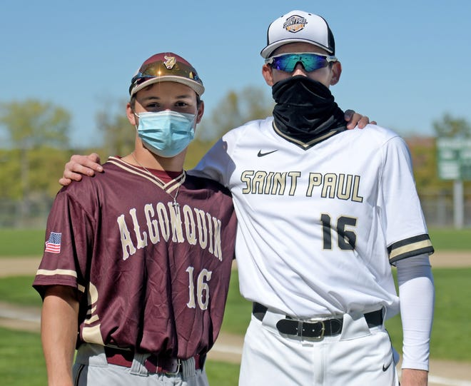 Algonquin's Sam Hill and St. Paul's Cody Smith (right) will both wear No. 16 this year in honor of their friend, Zach Hare, who died in December.