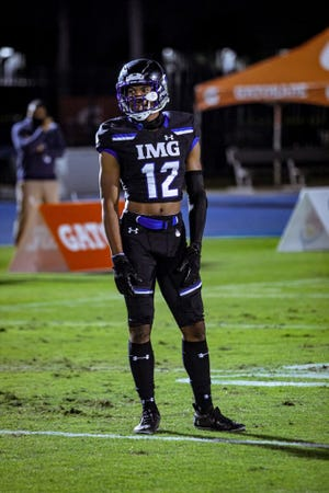 Five-star 2022 cornerback Daylen Everette (12) played two seasons at Norview High School in Norfolk, Va., before transferring to IMG Academy in Florida ahead of his junior season.