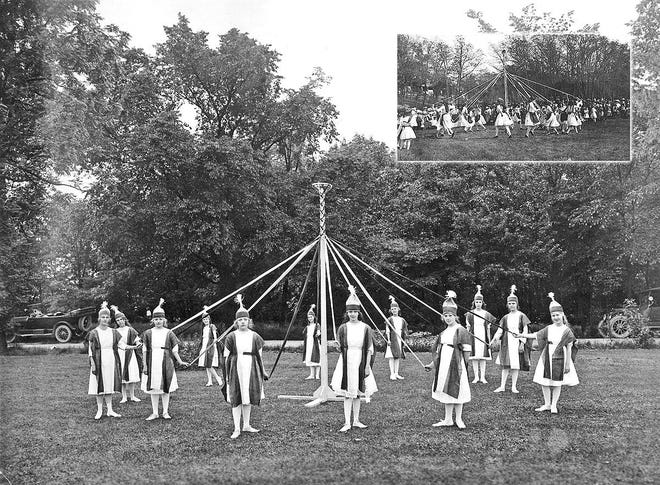 The maypole dance, shown here performed by a group of Grandview Heights girls, has been a European tradition since the 15th century and is often performed as a May Day celebration.