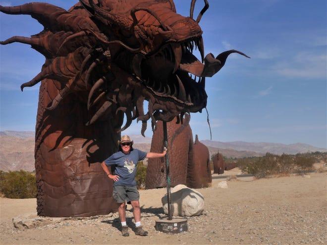 John tames the serpent in Borrego Springs, Calif.