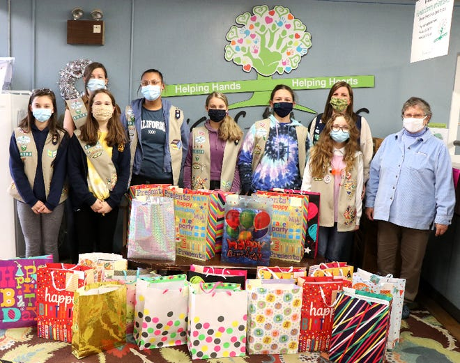 A Waynesboro Girl Scout troop provided birthday bags to Human Services, giving people in need supplies to throw a birthday party.