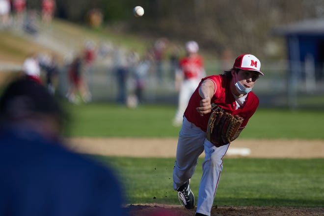 Michael Overlan of Melrose pitches against Stoneham at Stoneham High School to begin the 2021 season on Thursday, May 6.
