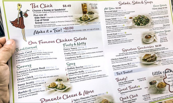 A menu for Chicken Salad Chick.