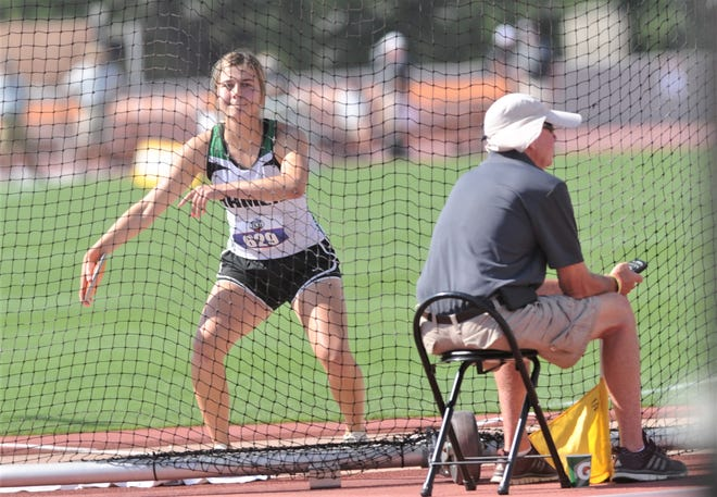 Hamlin's Jenna Vancleave prepares to make her last throw in the Class 2A girls' discus. She won the event with a 122-11 on that final throw Friday in Austin.