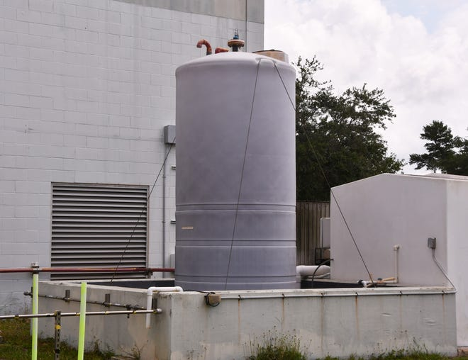 The tank at the Mims Water Treatment Plant that adds the fluoride to the water. The County Commission on Tuesday voted to allow Commissioner Rita Pritchett to begin remove the fluoride from the Mims water.