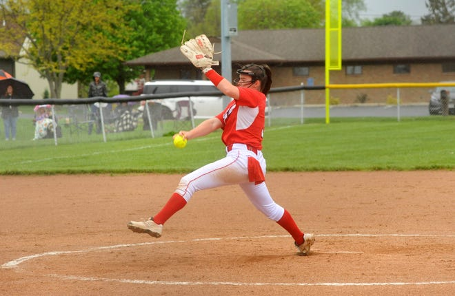 Bucyrus' Caleigh Rister delivers a pitch against Upper Sandusky.