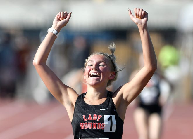 Gruver's Dylaney Weaver celebrates her win during the Class 2A 3,200 meter run during the UIL Track and Field State Championships, Friday, May 7, 2021, in Austin.