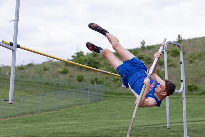 Zane Trace's Gage Dyke took first place in the pole-vault with a height of 10 feet at the annual Zane Trace Invitational on May 6, 2021. The boys would take first place.