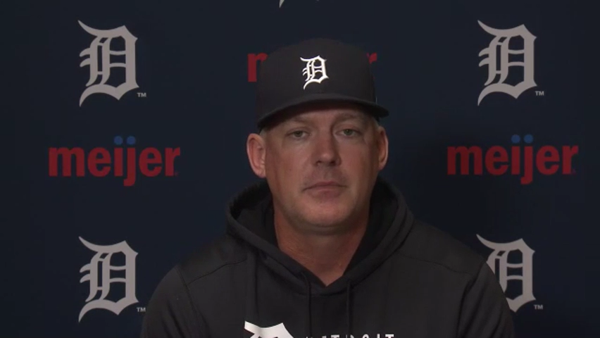 Detroit Tigers manager AJ Hinch talks about cutting reliever Buck Farmer from roster