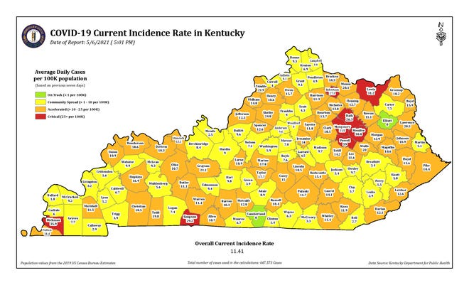 The COVID-10 current incidence rate map for Kentucky as of Thursday, May 6.
