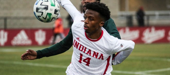 FILE – Sophomore forward Maouloune Goumballe scored an 80th-minute winner Thursday to help IU advance to the Elite Eight.