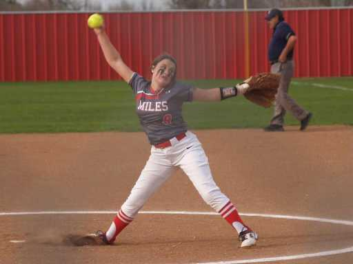 Miles High School's Sierra Ivey throws a pitch during the 2021 season.