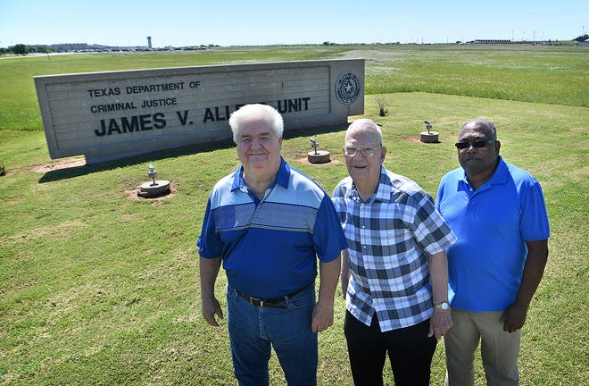 Terry Bradley, left, Gil Peters and John Brown, right, have all served as volunteers in prison ministry at the Allred prison unit.