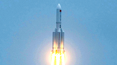 A Long March 5B rocket lifts off from the Wenchang Space Launch Center in southern China's Hainan province.