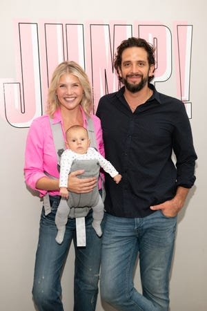 Amanda Kloots, Nick Cordero and their son Elvis attend the Beyond Yoga x Amanda Kloots Collaboration Launch Event on August 27, 2019 in New York City.