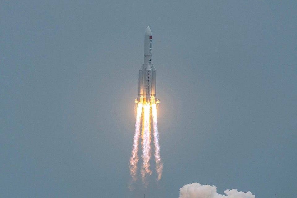 A Long March 5B rocket, carrying China's Tianhe space station core module, lifts off from the Wenchang Space Launch Center in southern China's Hainan province on April 29, 2021.